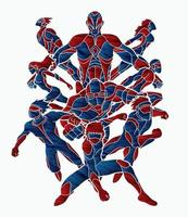 Gruppe von Superhelden männlicher und weiblicher Aktion vektor