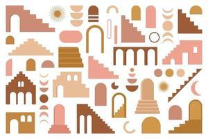 trendiges zeitgenössisches Set ästhetischer Geometriearchitektur, marokkanische Treppen, Wände, Bogen, Bogen, Vasen. Vektor Boho Poster für Wanddekoration im Vintage Mitte des Jahrhunderts Stil