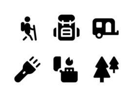enkel uppsättning camping relaterade vektor fasta ikoner. innehåller ikoner som husvagn, blixtljus, tändare, skog och mer.