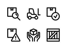 einfacher Satz logistisch verwandter Vektorliniensymbole. enthält Symbole wie Suchfeld, Gabelstapler, paketfertig, Holz und mehr. vektor