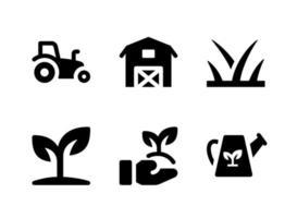 einfacher Satz von landwirtschaftlichen Vektorfesten Ikonen. Enthält Symbole wie Traktor, Pflanzenspross, Pflanzen, Sprinkler und mehr. vektor