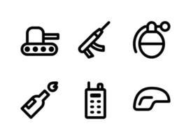 einfacher Satz militärbezogener Vektorliniensymbole. enthält Symbole wie Panzer, Granate, Molotow, Helm und mehr. vektor
