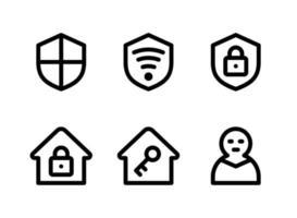 einfacher Satz sicherheitsrelevanter Vektorliniensymbole. Enthält Symbole wie Schild, WLAN-Sicherheit, Haus, Dieb und mehr. vektor
