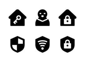 enkel uppsättning säkerhetsrelaterade fasta ikoner. innehåller ikoner som tjuv, sköld, wifi säkert, hus och mer. vektor