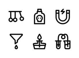 einfacher Satz von laborbezogenen Vektorliniensymbolen. enthält Symbole wie Pendel, Gift, Magnet, Trichter und mehr. vektor