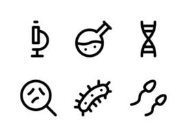 einfacher Satz von laborbezogenen Vektorliniensymbolen. enthält Symbole wie Mikroskop, Chemie, Keime, Sperma und mehr. vektor