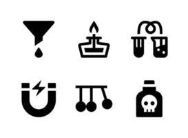 einfacher Satz laborbezogener Vektor-Festkörperikonen. enthält Symbole wie Trichter, Magnet, Pendel, Gift und mehr. vektor
