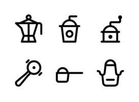 einfacher Satz von Coffeeshop-bezogenen Vektorliniensymbolen. enthält Symbole wie Kanne, Eiskaffee, Mühle, Messlöffel Zucker und mehr. vektor