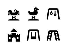 einfacher Satz von spielplatzbezogenen Vektorfesten Ikonen. enthält Symbole wie Ente, Burg, Schaukel, Klettergerüst und mehr. vektor