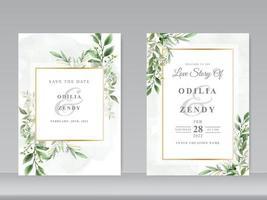 Hochzeitseinladungskarten mit grünem Blumenmuster vektor