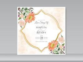 bröllop inbjudningskort med grönska blommönster vektor