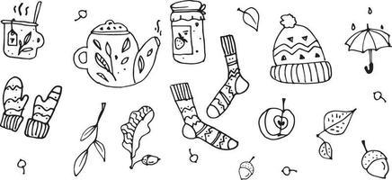 Herbstset mit handgezeichneten Elementen. Herbstsaison Elemente perfekt für Sammelalbum, Karte, Poster, Einladung. Vektor. Schwarz und weiß. vektor