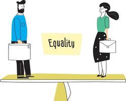 Mann und Frau stehen auf Waage. Konzept der Gleichstellung der Geschlechter bei der Arbeit oder in der Wirtschaft, Gleichberechtigung für beide Geschlechter. bunte Vektorillustration im flachen Karikaturstil. vektor