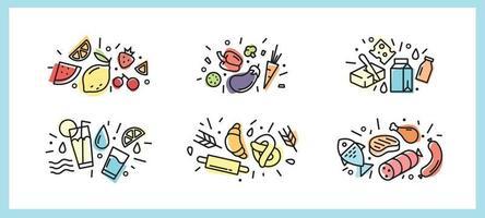 bunte Lebensmittelikonen mit im trendigen Stil. für Web und Print. Obst, Gemüse, Tagebuch, Fleisch, Fisch, Meeresfrüchte und Süßigkeiten vektor