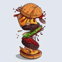 großer leckerer und leckerer Hamburger mit fliegenden Zutaten vektor