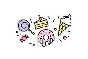 Satz bunte Süßigkeitenikonen lokalisiert. trendiger linearer Stil, Eis, Donut, Lollypop, Kuchen, Süßigkeiten. vektor