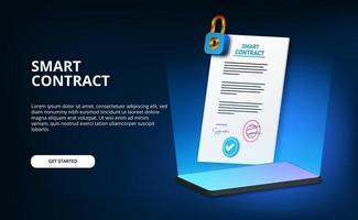 Intelligente Vertrag-Landingpage des Papierdokuments der 3D-Dokumentation vektor