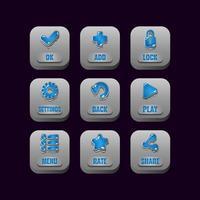Sammlung Satz von quadratischen Steinknöpfen mit Gelee-Symbolen für Spiel-UI-Asset-Elemente Vektor-Illustration vektor
