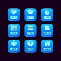 Sammlungssatz von quadratischen Eisknöpfen mit Gelee-Symbolen für die Vektorillustration der Spiel-UI-Asset-Elemente vektor