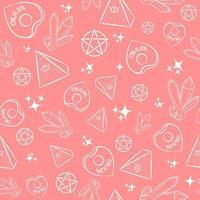rosa okkultes nahtloses Muster mit Hexenobjekten. repetitiver New-Age-Hintergrund mit Illuminati-Pyramiden, Kristallen, Ouija-Planchetten und Pentagrammen. Hexerei und esoterische rituelle Tapete. vektor