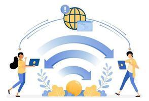Banner Vektor Design von WLAN für Kommunikationstechnologie und Internet-Netzwerke Datenübertragung. Illustrationskonzept für Landingpage, Vorlage, UIux, Web, mobile App, Poster, Banner, Website verwendet werden