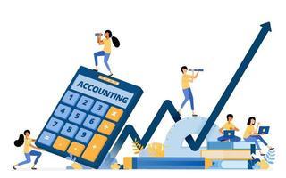 Banner Vektor Design der Buchhaltung Bildung und Finanzkompetenz zur Verbesserung des Wirtschaftswachstums. Das Illustrationskonzept kann für Zielseite, Vorlage, Benutzeroberfläche, Web, mobile App, Poster, Banner, Website verwendet werden