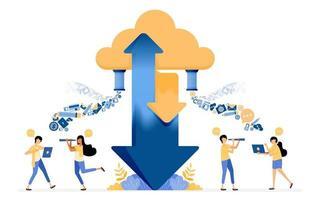 Banner-Vektor-Design zum Teilen von Upload- und Download-Daten für Cloud-Hosting-Speicherdienste. Das Illustrationskonzept kann für Zielseite, Vorlage, Benutzeroberfläche, Web, mobile App, Posteranzeigen, Banner und Website verwendet werden vektor
