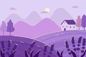 Nachtzeit Landschaftsillustration mit niedlichem Haus und Lavendel vektor
