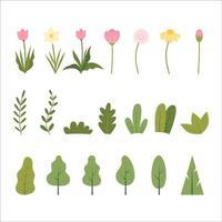 Satz Frühlingsblumen, Blätter und Bäume flache Vektoren