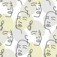 nahtloses Muster mit weiblichen Porträts mit Ohrringen. Strichzeichnung.