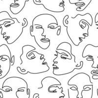 nahtloses Muster mit weiblichen Porträts. eine Strichzeichnung. vektor