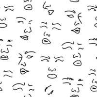 nahtloses Muster mit weiblichen Gesichtern. Strichzeichnung.