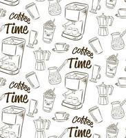 handgezeichnetes nahtloses Muster mit verschiedenen Kaffeesorten und Vorrichtungen zur Kaffeezubereitung. vektor