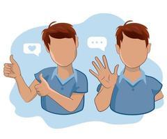 Ein Mann mit erhobenem Daumen und ein Mann, der mit der Hand winkt, um zu grüßen oder sich zu verabschieden. vektor