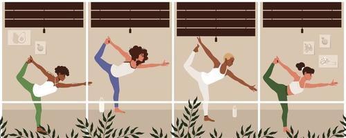 Frauen zusammen im Yoga-Kurs. Gruppe lächelnder aktiver Personen, die Gymnastik- oder Aerobicübungen durchführen. flache Karikaturvektorillustration vektor