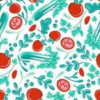 nahtloses Muster mit Tomaten und Kräutern. veganer Hintergrund. flaches Vektorillustrationsgemüse vektor