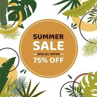 Rabatt-Gutschein oder Banner. Sommerschlussverkauf mit 75 Prozent Rabatt auf exotische Blätter und geometrische Elemente. Vektor flach