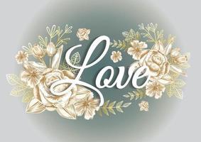 Rosenrahmen und goldenes Elementetikett für Hochzeitskarte oder Dankeskarte vektor