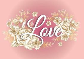 Rosenrahmen und goldene Elementetiketten für Hochzeitskarte oder Dankeskarte vektor