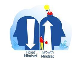 große menschliche Köpfe denken über feste Denkweise und Wachstums-Denkweise nach vektor