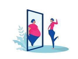 dicke Dame, die Spiegel betrachtet, sieht passendes Spiegelbild vor und nach dem Konzept vektor