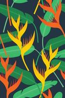 nahtlose Mustertapete von Heliconia Blumen und Blättern für den tropischen Pflanzenhintergrund. vektor
