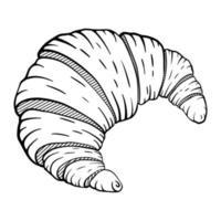 handgezeichnetes Croissant für Designmenü Cafe, Etikett und Verpackung. Frühstück. Bäckerei. Vektorgebäckillustration lokalisiert auf weißem Hintergrund vektor
