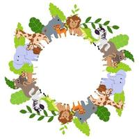 sömlös ram med vilda djur. elefant, lejon, noshörning, flodhäst, giraff, jaguar, apa, krokodil och tiger. tecknad vektorillustration för barns design. vektor