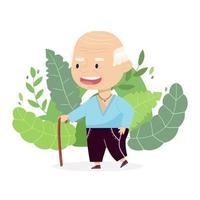 Großvater mit einem Stock. fröhliche Zeichentrickfigur lokalisiert auf dem Hintergrund. niedliche Vektorillustration vektor
