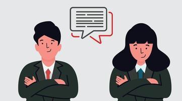 Geschäftsleute, die eine Chat-Blase eingeben vektor