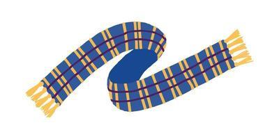 blauer gelber karierter Schal lokalisiert auf weißem Hintergrund. Winter- und Herbstkleidung. vektor