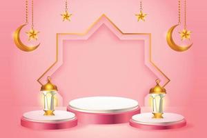 3D-produkt visar rosa och vitt podium-tema islam med halvmåne, lykta och stjärna för ramadan vektor