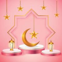 3d Produktanzeige rosa und weiß Podium thematisch islamisch mit Halbmond, Laterne und Stern für Ramadan vektor