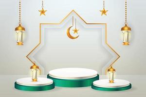 3D-Produktanzeige grün und weiß Podium thematisch islamisch mit Halbmond, Laterne und Stern für Ramadan vektor